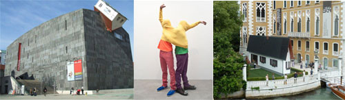 Erwin Wurm - House attack @ MUMOK / Narrow house / Performative sculpture